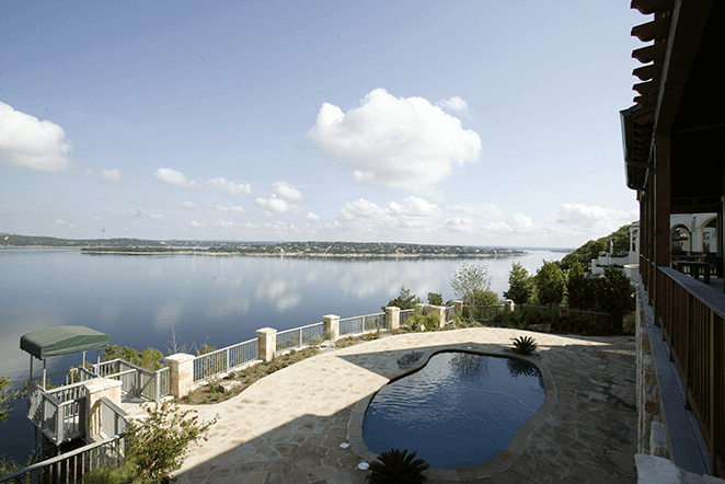 View from patio in-ground pool overlooking Lake Austin.